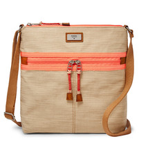 Fossil Blake Khaki Cotton/Polyster Top Zipper Closure Crossbody - $199.99