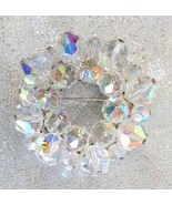 Fabulous Aurora Borealis Cut Glass Wreath Brooc... - $22.95