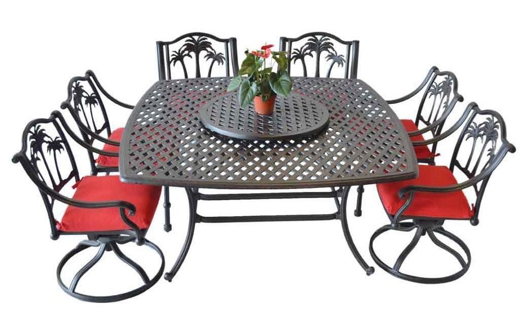 Patio furniture Cast Aluminum 8 piece Palm Tree outdoor dining set Antique