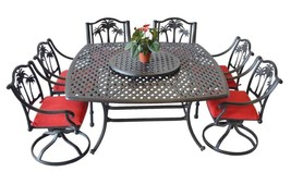 Patio furniture Cast Aluminum 8 piece Palm Tree outdoor dining set Antique - $1,945.00