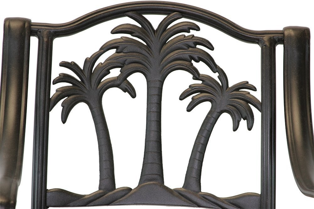 Patio furniture Cast Aluminum 8 piece Palm Tree outdoor dining set Antique image 3