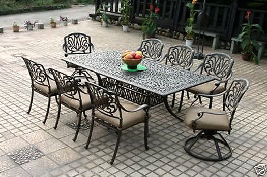 Outdoor Patio furniture Elisabeth 9pc set cast aluminum Elsabeth Desert Antique