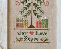 Joy Peace Love holiday cross stitch chart Country Cottage Needleworks