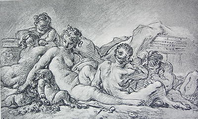 NUDE Nymphs & Satyrs by Boucher - Antique Phototype Print