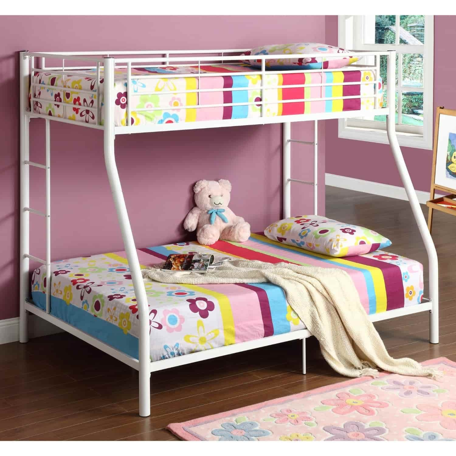 Kids childrens unique twin over full metal bunk bed for Childrens iron beds