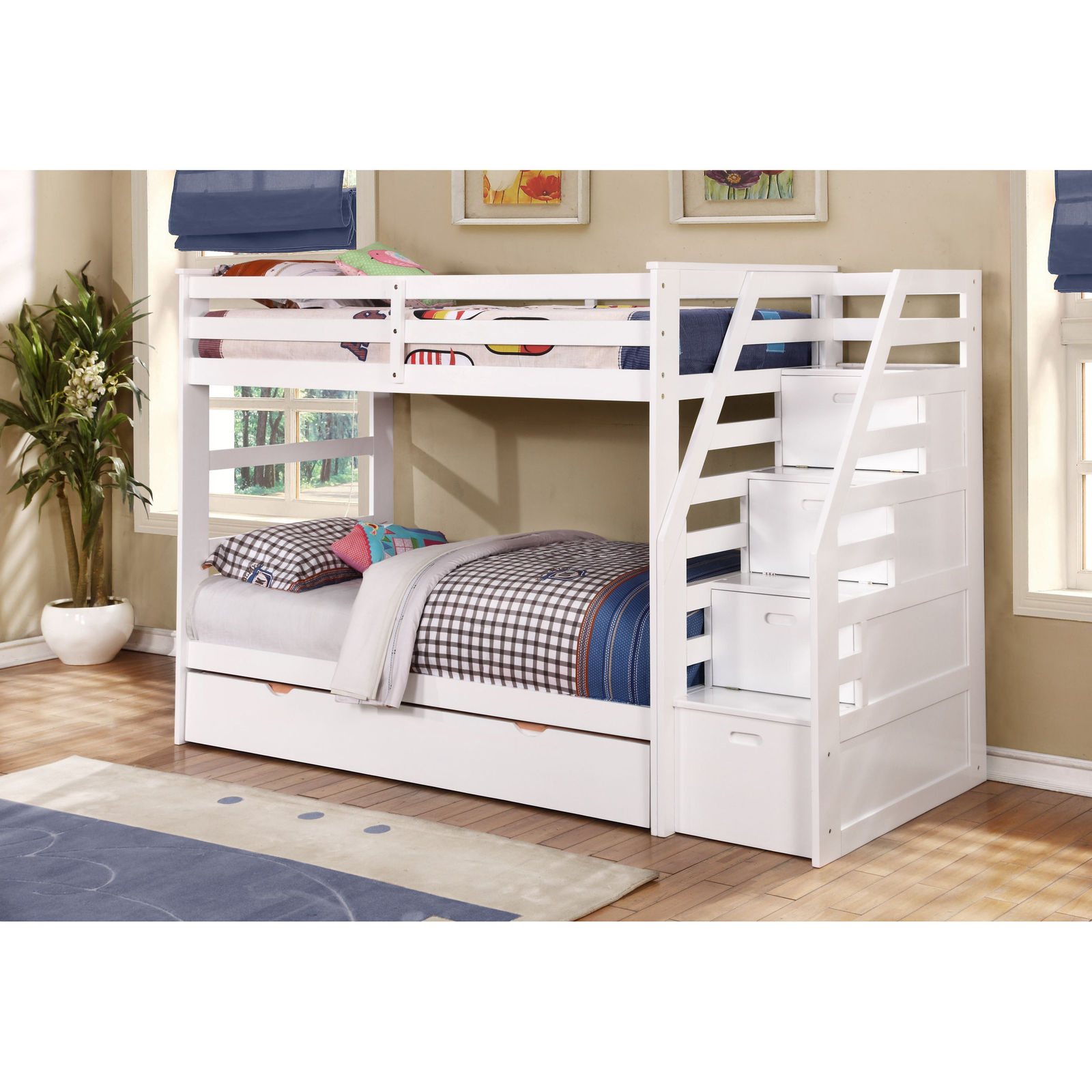 Kids Twin Over Twin Triple Bunk Bed With Trundle And