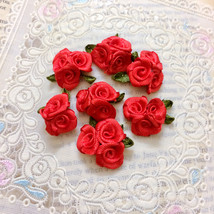 20 Red Trio Roses,Craft Flowers,Rose Bouquet,Sewing Supplies,Embellish,D... - $7.95