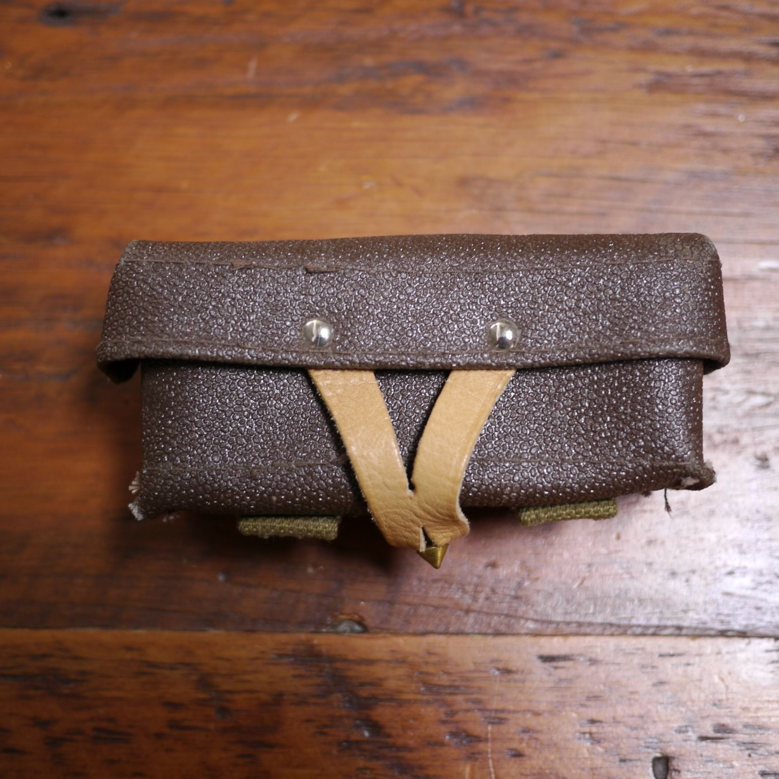 Vintage Faux Leather European Canvas Military Army Ammo Belt Pouch Box