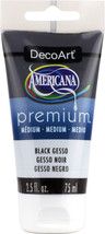 Americana Premium Acrylic Medium Paint Tube 2.5oz-Black Gesso - $6.67