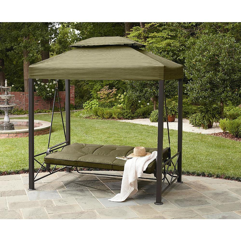 outdoor 3 person gazebo swing lawn garden deck pool patio canopy porch daybed awnings canopies. Black Bedroom Furniture Sets. Home Design Ideas