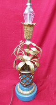 Antique Tole Vintage Flower Basket Floral Metal Lamp Light Fixture Frenc... - $70.00