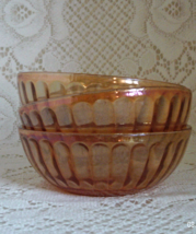 Vintage Set of 3 MARIGOLD Carnival Glass Berry Bowls Vertically Ribbed - $12.00