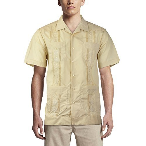 Alberto Cardinali Men's Guayabera Short Sleeve Cuban Casual Dress Shirt (L, Beig