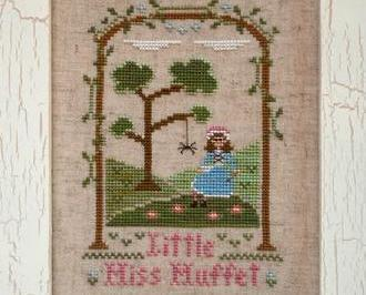 Little Miss Muffet nursery rhyme cross stitch chart Country Cottage Needleworks