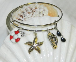 Nautical Charm Bracelet / Beach Starfish Flipfl... - $20.00