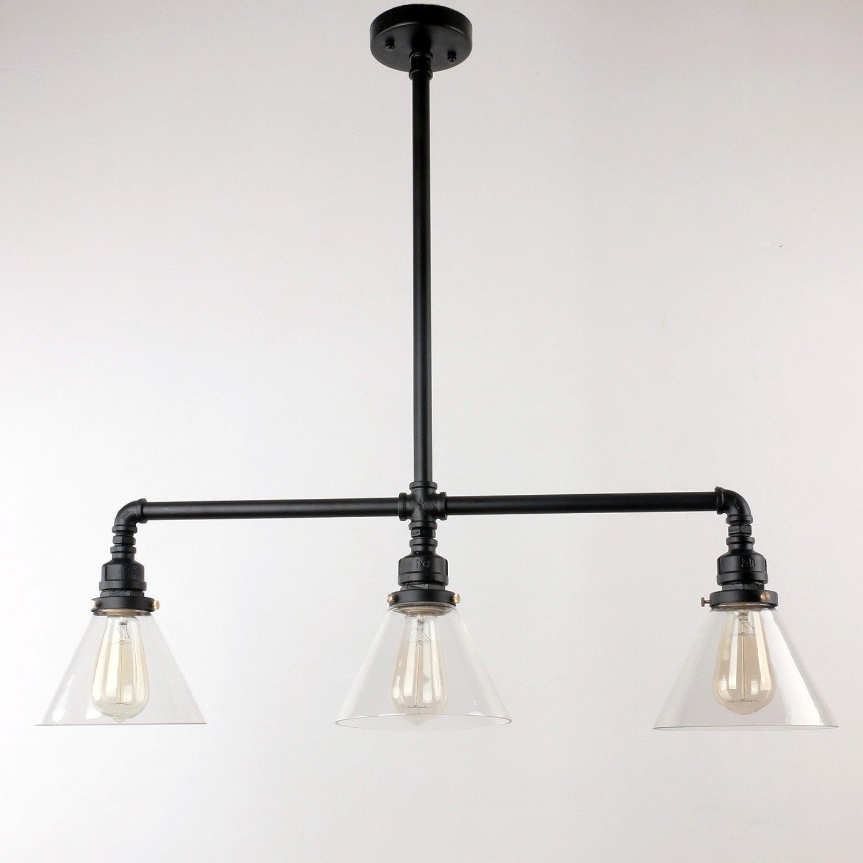 Industrial Pendant Light Glass: Industrial 3 Glass Pendant Light- Dining Room Pendant