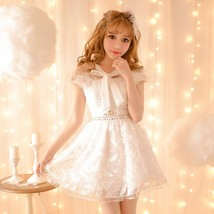 New Japanese Attractive Sweetly Women Students White Feather chiffon ski... - $59.50