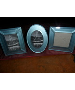Decorative Picture Frames set of three Shiny Light blue Frames   - $12.00