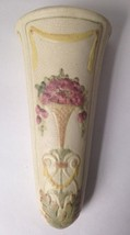 Weller Pottery Roma Floral Wall Pocket Roses w Yellow Swag Vintage Antiq... - $89.05