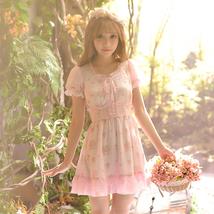 Attractive Retro Sweetly Sweet Women Fashion Students Pink Chiffon Floun... - $44.50