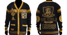 ALPHA PHI ALPHA Black Gold Sweater Alpha Phi Alpha Cardigan Sweater S-4X #2 - $128.24