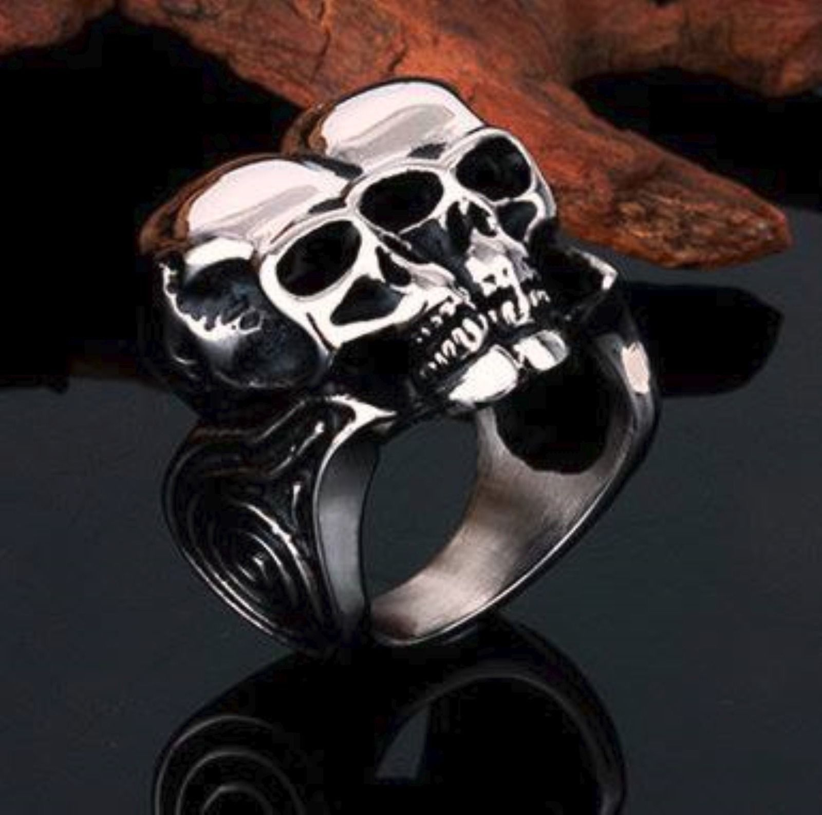 Biker's Conjoined Skulls ring size 11 only