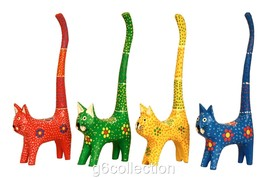 """7"""" Cat Long Tail Cute Ring Holder Hand Dot Painting Wooden Hand Carved C... - $7.75+"""