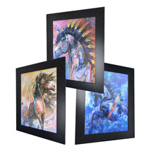 3 Dimension 3D Lenticular Picture Native American Indian Tribe Horse Feather - $21.28