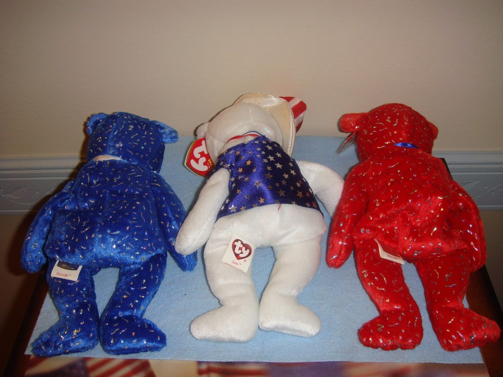 cd7a7bfec2c Ty Beanie Babies Sam Red Decade And Blue and 50 similar items