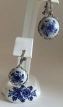 Vintage Delft Holland Ceramic Pin Screwback Earring Set Flower Design - €16,09 EUR