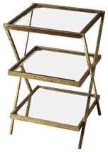 Antique Gold, Glass & Mirror Worlds Away Jarmon Look 3 Tiered Accent Table - €348,30 EUR