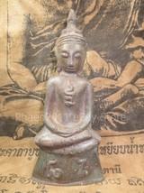 SO RARE! Ancient Pra Chai Ngang Khmer Old Statue Antique Top Thai Buddha Amulet - $39.99