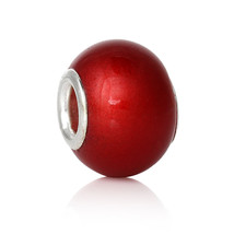 3 pcs RED Lampwork Glass Large hole Beads. Fits European Charm Bracelet G13 - $3.17