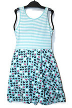 Jumping Beans Girls White Striped Aqua Stripe Heart Dress Easter Spring ... - $7.99
