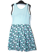Jumping Beans Girls White Striped Aqua Stripe Heart Dress Easter Spring ... - £5.82 GBP