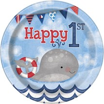 "Nautical 1st Birthday 8 Ct Dessert Cake 7"" Plates - $3.13"