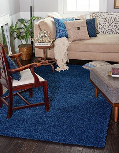 Cozy Shag Collection Solid Shag Navy Blue Rug ( 4' x 6' ) Contemporary Area Rugs for sale  USA