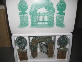 Village Stone Corner Posts with Holly Trees and Stone Archway Department 56 - $8.00