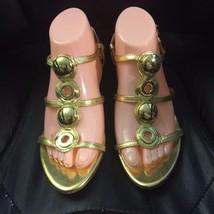 FRANCO SARTO Gold Leather Strappy Open Toe Slingback Kitten Heel Sandals SZ 9.5  - $12.20