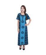 Blue Cotton Printed Womens Night wear Long Nigh... - $18.05