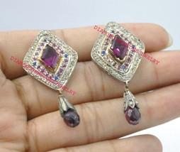 925 Sterling Silver Antique Rose Cut Gemstone Sapphire & Garnet  Dangle ... - $244.97