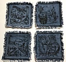 Large Western Theme Mug Rugs / Coasters - Set of 4 - Black Thread - $20.00