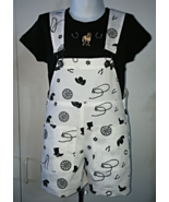 OOAK Girls White Shortall with western theme & Black Short Sleeve Shirt ... - $27.95