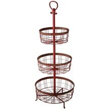 DISTRESSED RED 3 TIER DISPLAY BASKET RACK, KITCHEN,OFFICE-CRAFTS,35''L X... - $143.55