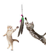 Pet Cat Toy Feather Teaser Plastic Wand Toy Tea... - $7.39