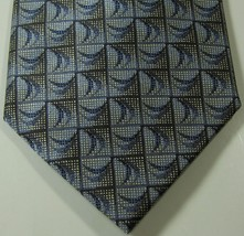 JHANE BARNES Rich Gray Geometric  RARE  Tie Silk Cotton Blend - $29.99