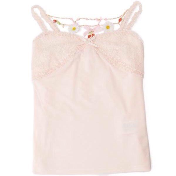 Authentic Liz Lisa Kawaii Camisole With Cherry Chain Charm Pink Japanese Fashion - $79.00