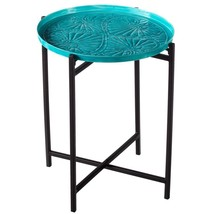 MOROCCAN STYLE TURQUOISE MEDALLION PETITE IRON TABLE,15'' X 16''H. - $133.65