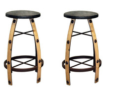 "Qty 2 30"" Iron And Wood Natural Bar Stool Real Wood  Rustic Western Free... - $445.49"