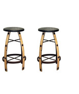 """Qty 2 30"""" Iron And Wood Natural Bar Stool Real Wood  Rustic Western Free... - $445.49"""